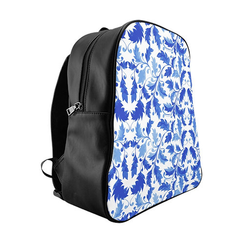 Blue Patterned School Backpack