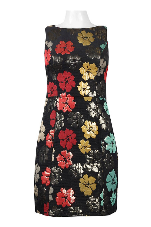 Maia Boat Neck Sleeveless Zipper Back Floral Pattern Metallic Jacquard