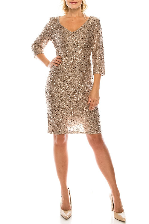 Alex Evenings Taupe Sequined Lace Evening Dress