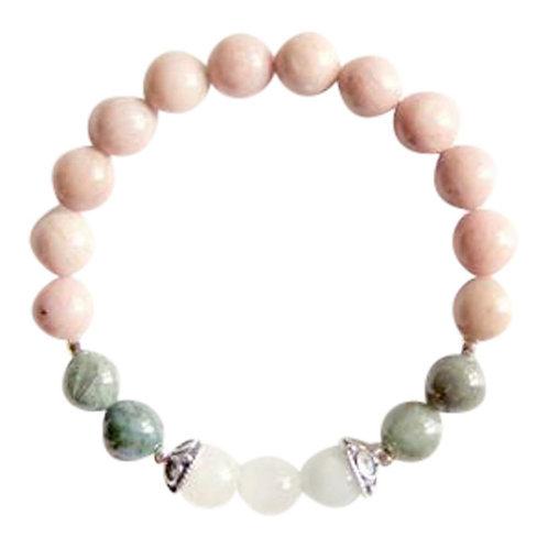 Rhodonite, Moss Agate & Rainbow Moonstone Sterling Silver Bracelet