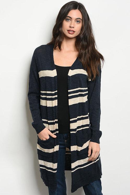 Womens Stripes Cardigan