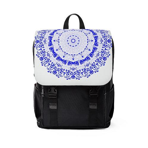Blue Mandala Unisex Casual Shoulder Backpack