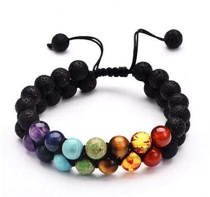 7 Chakra and Lava Stone Double Braided Bracelet