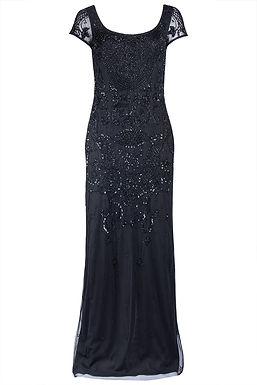 Adrianna Papell Sheer Short Sleeve Beaded Gown