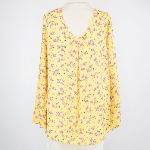 V-neck Floral Print Long Sleeve Blouse - Yellow