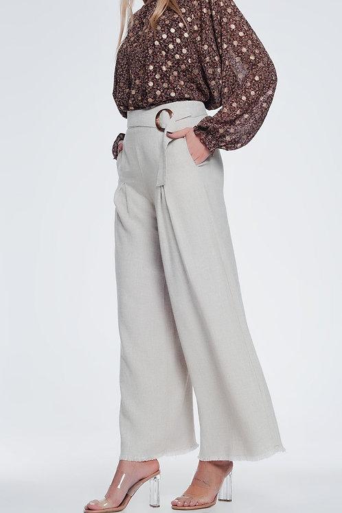 Beige Belted High Waist Wide Leg Trouser