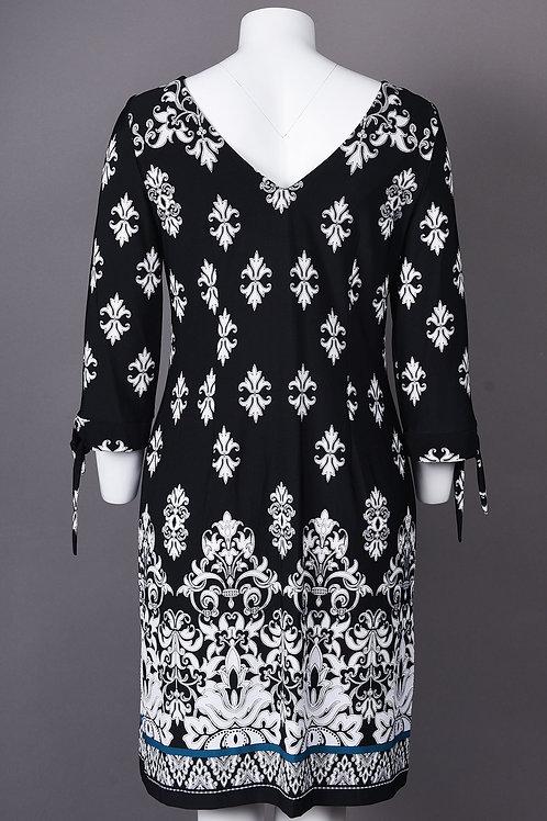 Boat Neckline Half Sleeve Damask Print Jersey Dress. Lined. By Sandra