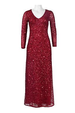 Adrianna Papell V-Neck Long Sleeve Zipper Back Sequined Mesh Dress
