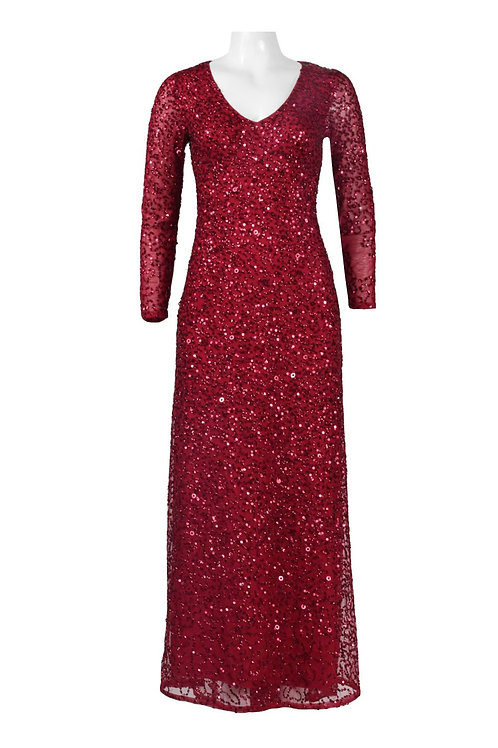 Adrianna Papell V-Neck Long Sleeve Zipper Back Sequined Mesh Dress