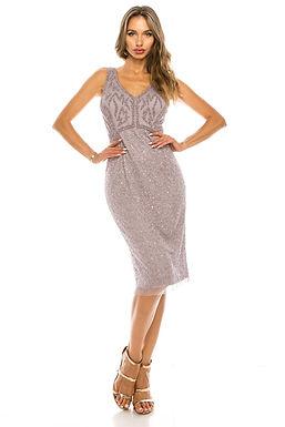 Adrianna Papell Lilac Sleeveless Beaded Sheath Dress