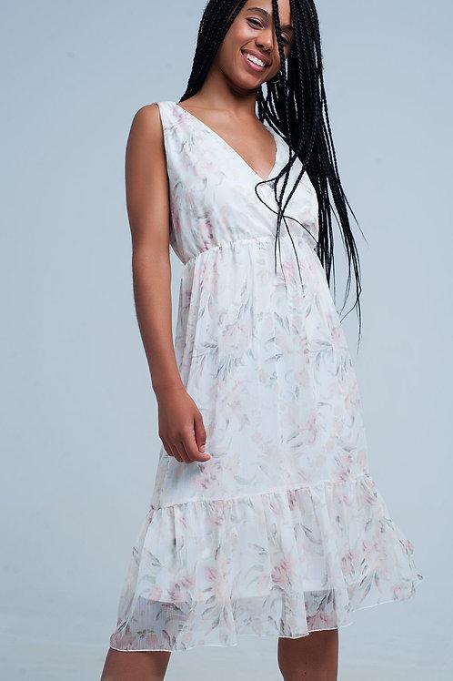 Chiffon Floral Midi Dress With v Neck