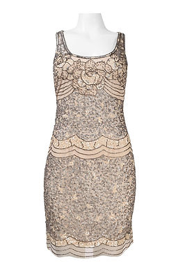 Adrianna Papell Scoop Neckline Sequin and Bead Detail Scalloped Hem