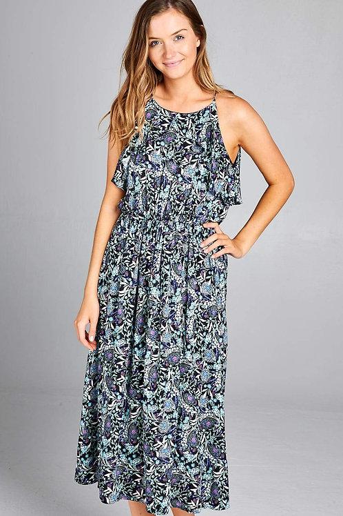 Paisley Print Ruffled Maxi Dress