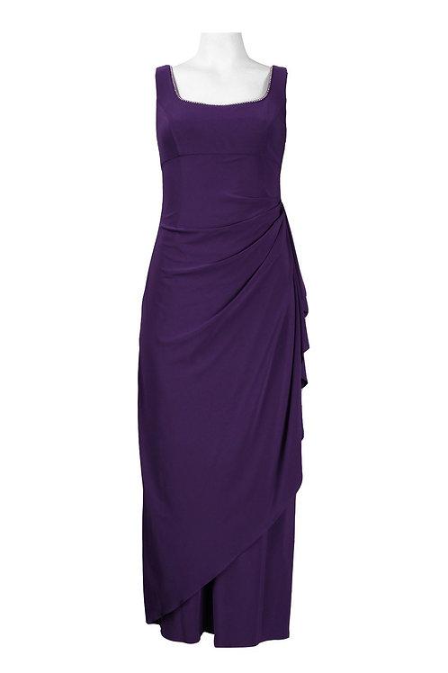 Alex Evenings SIZE 6P Square Neckline Draped Jersey Dress