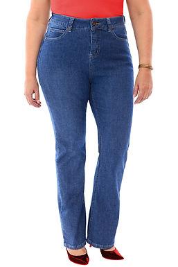 360 Stretch High Rise Straight (To Slight Boot Cut) Denim Jeans in Medium Stone