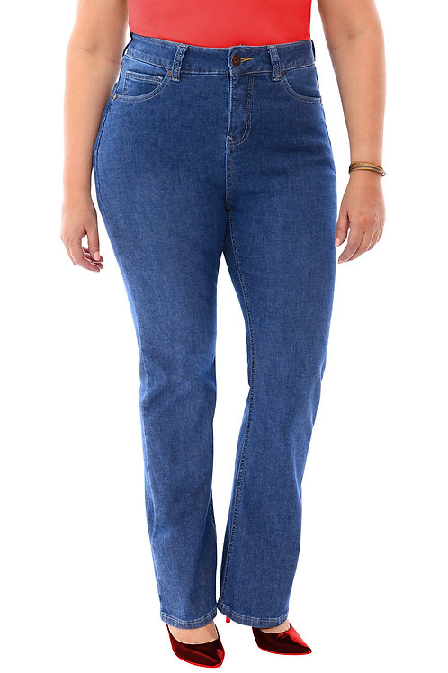 360 Stretch High Rise Straight (To Slight Boot Cut) Denim Jeans in Medium Stone