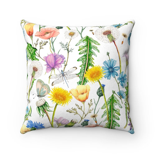 Botanica Wildflowers Faux Suede Square Pillow