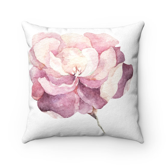 Peony/Bud Faux Suede Square Pillows
