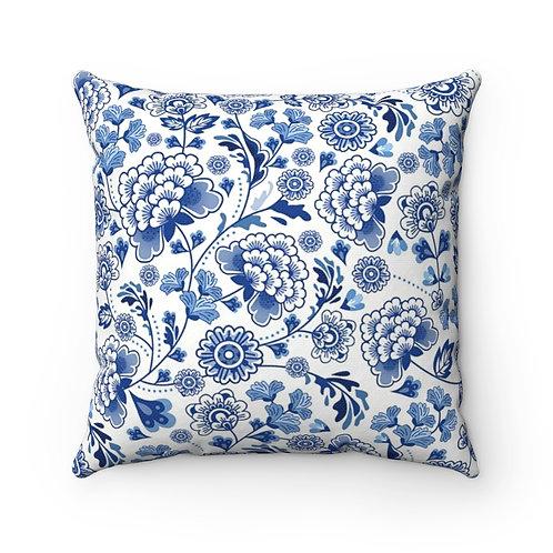 Blue China Spun Polyester Square Pillow