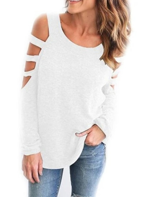 Womens Open Shoulder Long Sleeve Casual Top