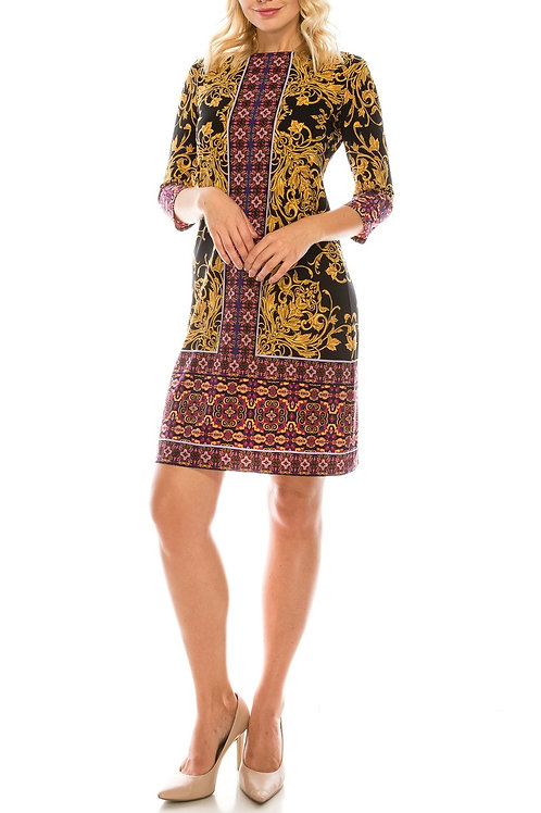 London Times Black Gold Red Dual Filigree Printed Sheath Dress