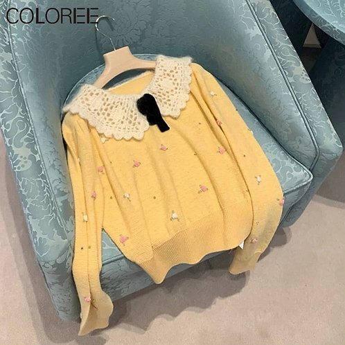 Long Sleeve Knitted Loose Lace Collar Sweater
