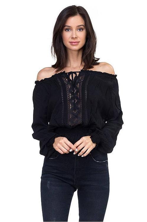 Black - Off Shoulder Long Sleeve Embroidered Top