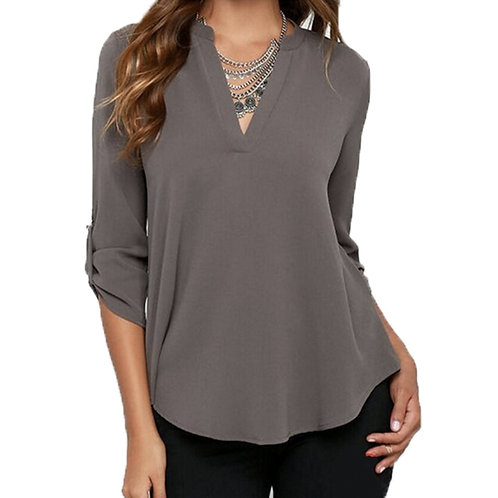 Womens V Neck Blouse with Roll Up Sleeves Design