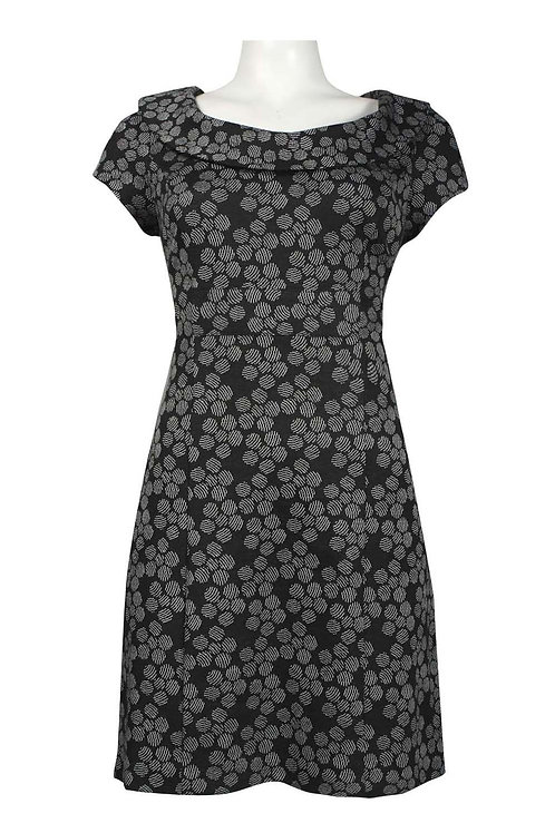 Donna Ricco Roll Collar Printed Ponte Dress (Petite)