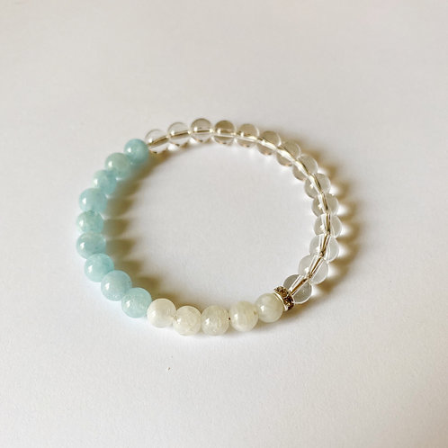 Aquamarine, Moonstone & Crystal Quartz Bracelet