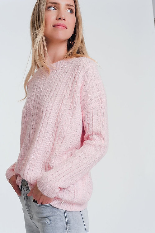 Cable Knit Sweater in Pink