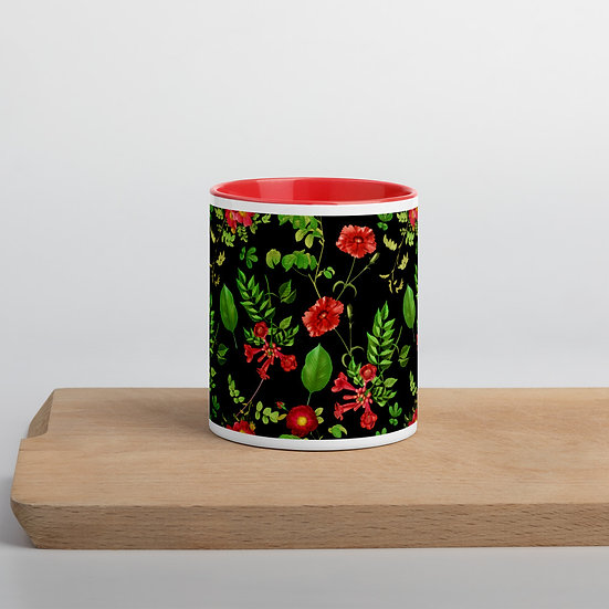 Fruits and Flowers on Black Mug with Color Inside