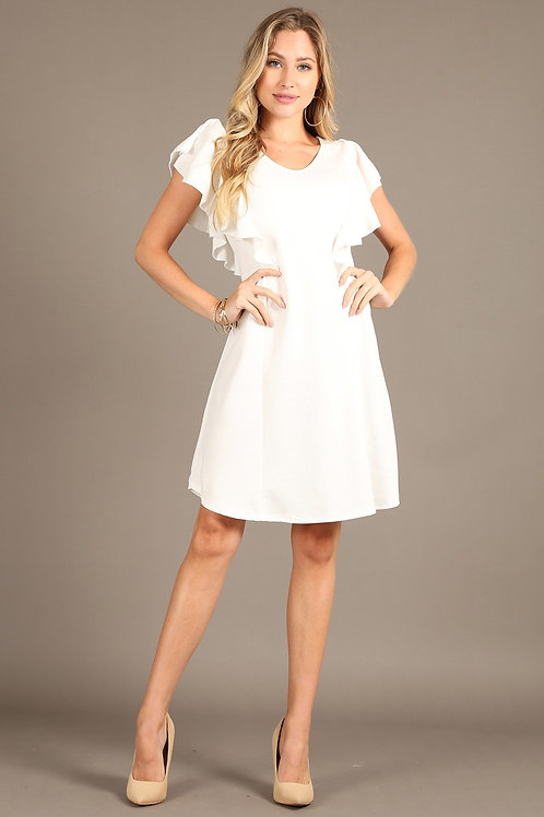 1250N Solid dress with v-neck, and short ruffle sleeves.