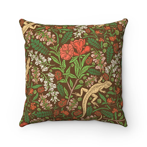 English Natural Lizard Faux Suede Square Pillow