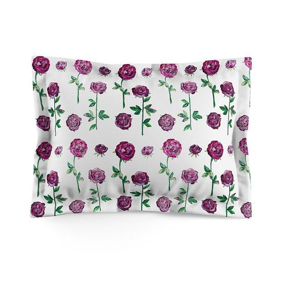 Maroon Roses on White Microfiber Pillow Sham
