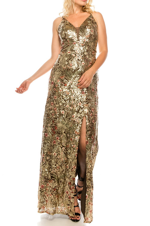 Cachet Mocha Allover Sequined & Floral Embroidered Strappy Plunge Gown