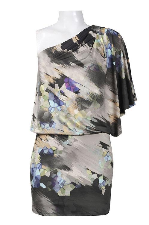 One Shoulder Flutter Sleeve Printed Jersey Blouson Dress. Lined. By