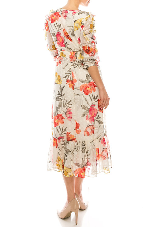Maison Tara Floral Chiffon A-Line Dress