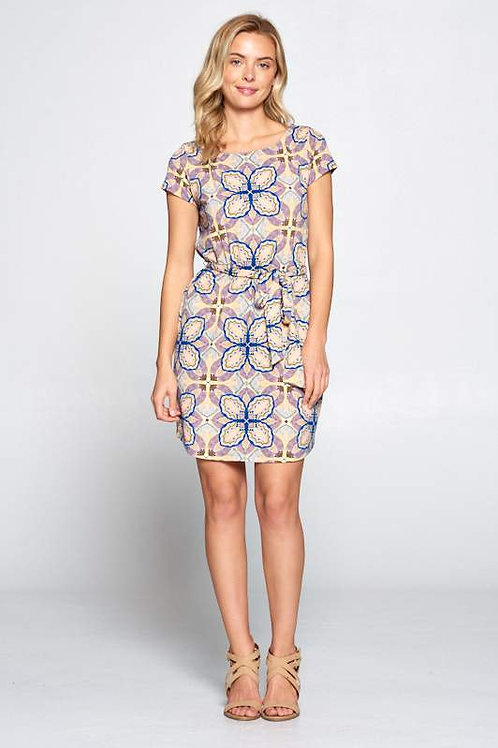 Short Sleeve Print Jersey Dress with Waist Tie