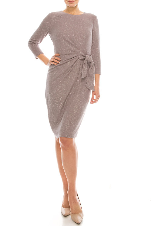 London Times Mauve Mystery Metallic Sheath Dress with Waist Tie