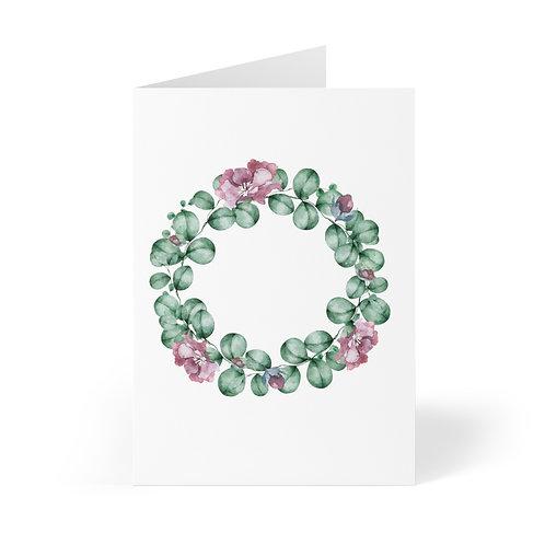 Blush Roses Wreath Greeting Cards (8 pcs)