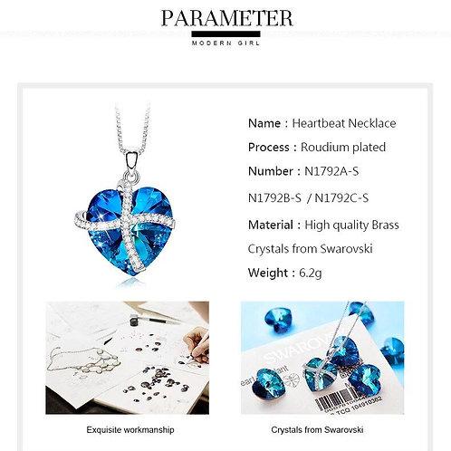 Swarovski Crystals Bermuda Blue Pave Heart Ribbon Necklace