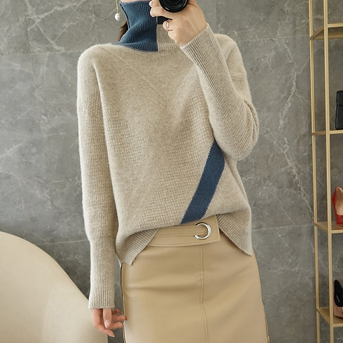 Autumn and winter new fashion color blocking turtleneck sweater 100%