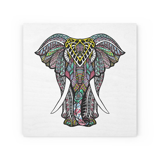 Decorated Elephant Wood Canvas