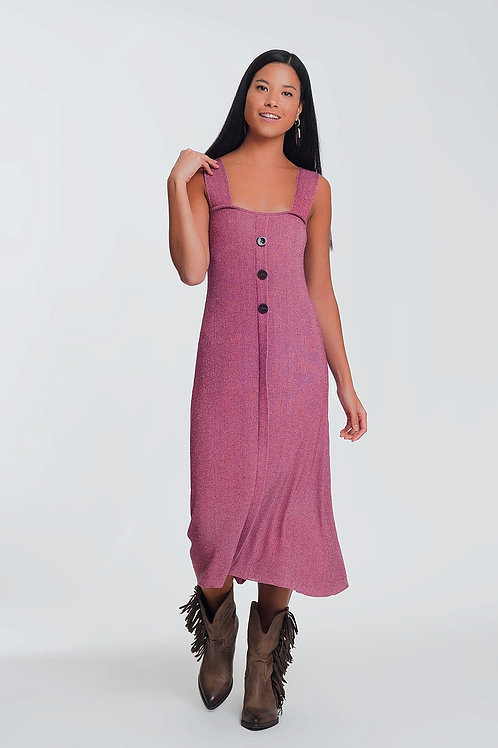 Knitted Dress With Buttons in Pink