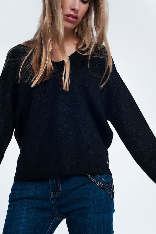 Black Glitter Sweater With V-Neck
