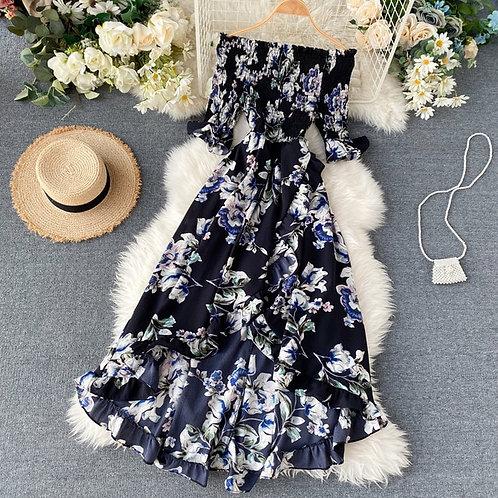 Boho Vintage Ruffles Floral Print 2020 Off Shoulder Dress