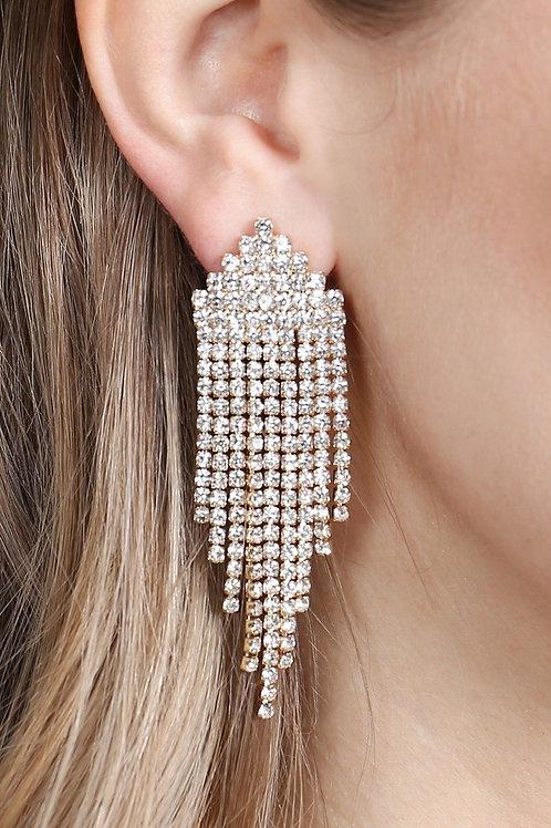 25931 - Multi Line Rhinestone Fringe Post Earrings