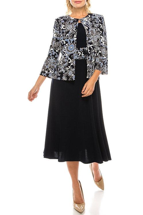 Jessica Howard Navy Blue Textured 2 Piece Jacket Dress Set
