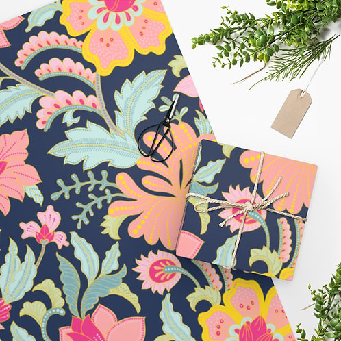 Charlottes Garden on Navy Wrapping Paper